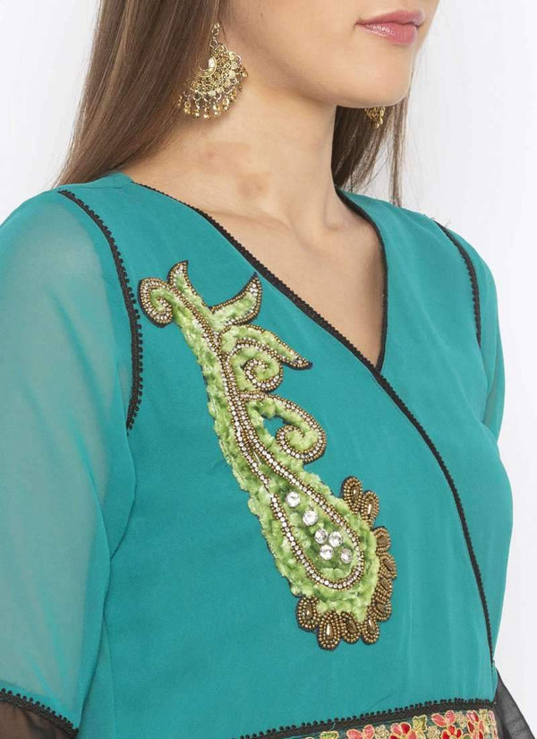 Amazing Turquoise Color Georgette Fabric Kurti