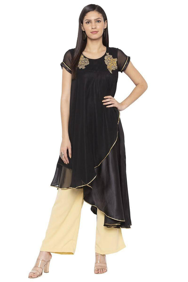 Irresistible Black Color Georgette Fabric Designer Kurti