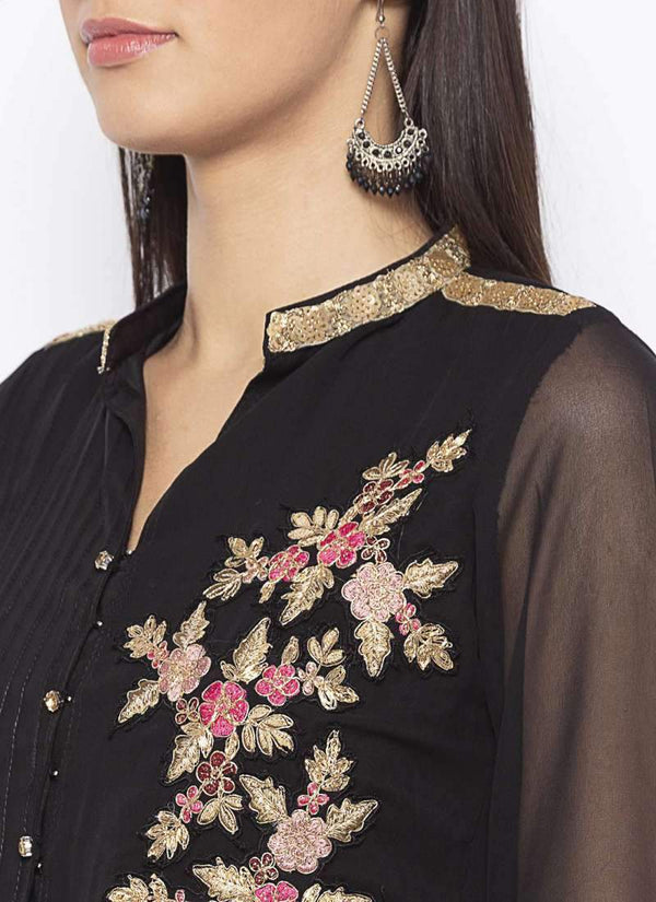Amazing Black Color Georgette Fabric Kurti