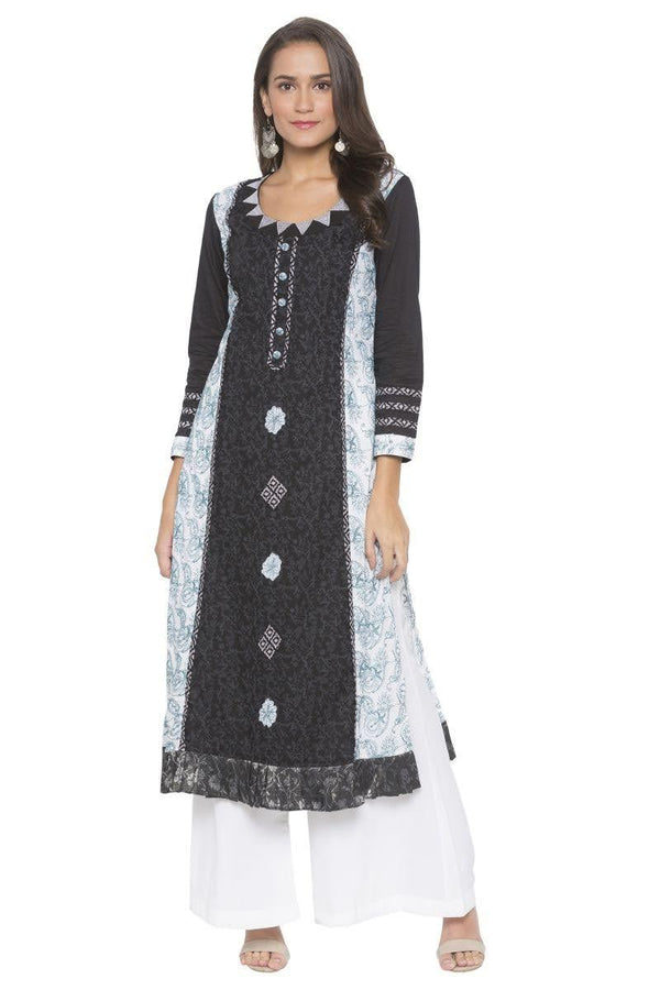 Amazing Black Color Cotton Fabric Designer Kurti