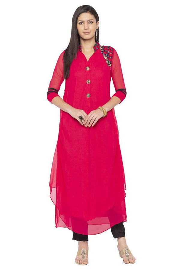 Irresistible Coral Color Georgette Fabric Designer Kurti