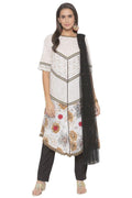 Amazing White Color Cotton Fabric Designer Kurti Set