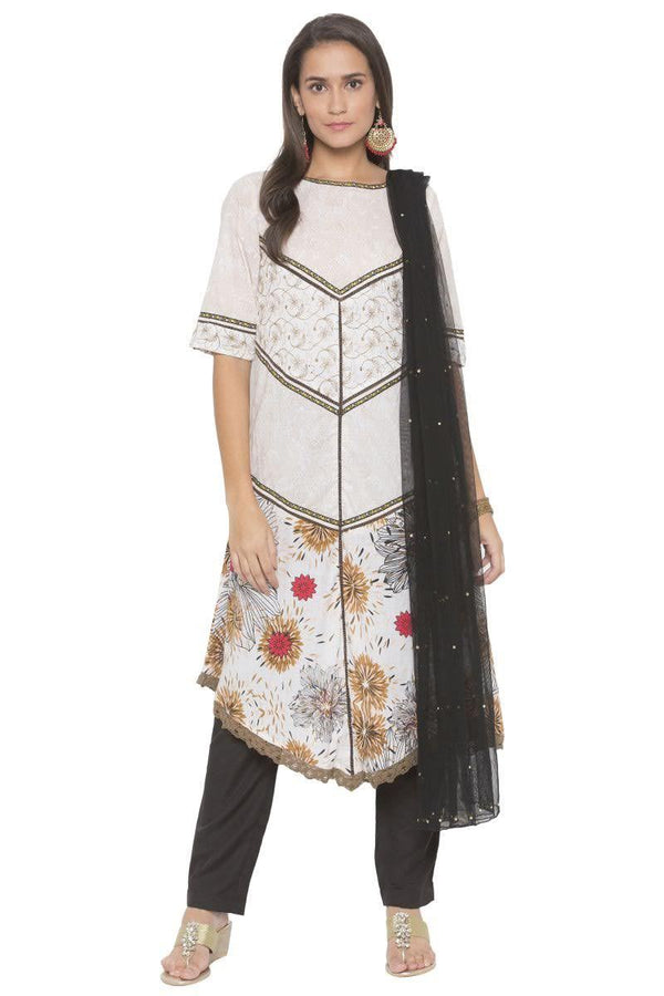 Irresistible White Color Cotton Fabric Designer Kurti Set
