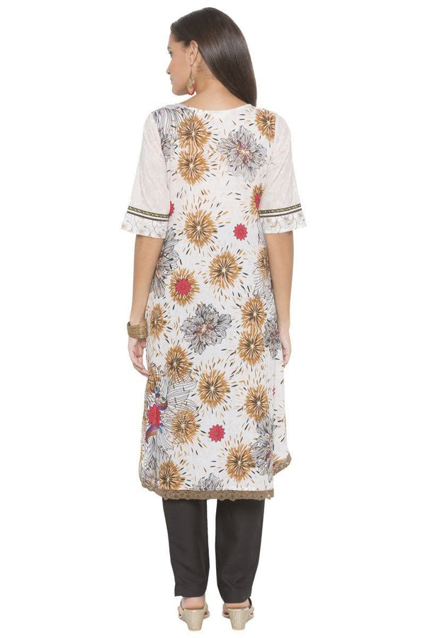 Amazing White Color Cotton Fabric Designer Kurti