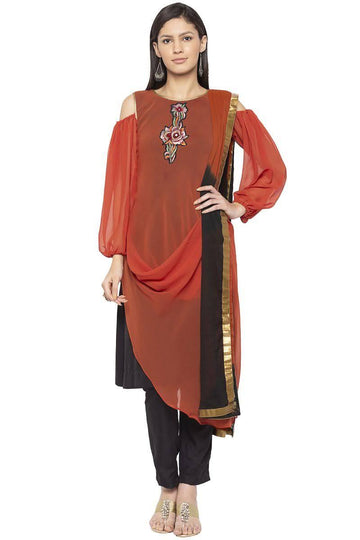 Amazing Orange Color Georgette Fabric Designer Kurti Set
