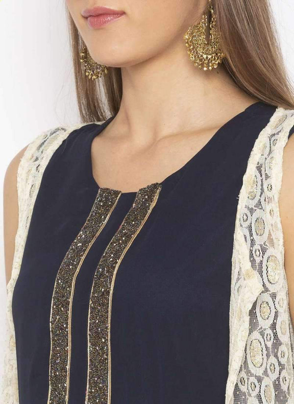 Amazing Navy Blue Color Georgette Fabric Kurti