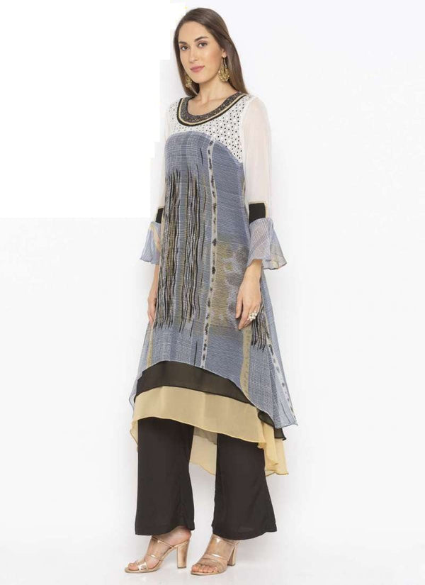 Amazing Grey Color Georgette Fabric Kurti