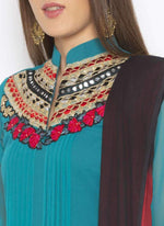 Amazing Blue Color Georgette Fabric Kurti Set