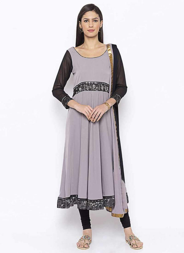 Amazing Grey Color Crepe Fabric Kurti Set