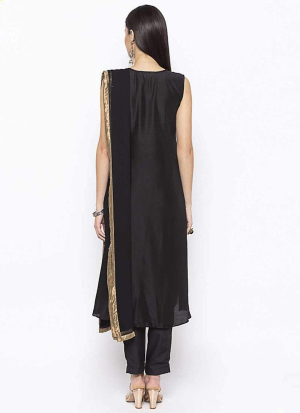 Amazing Black Color Muslin Fabric Kurti Set