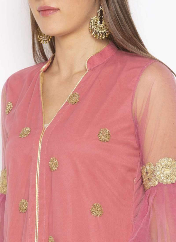 Amazing Pink  Color Net Fabric Kurti