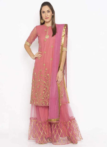 Amazing Pink  Color Net Fabric Kurti Set