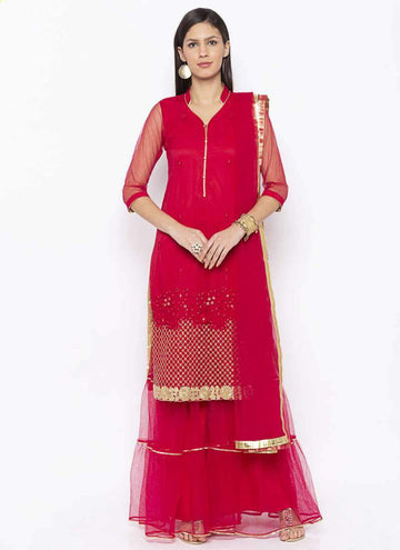 Amazing Red Color Net Fabric Kurti Set