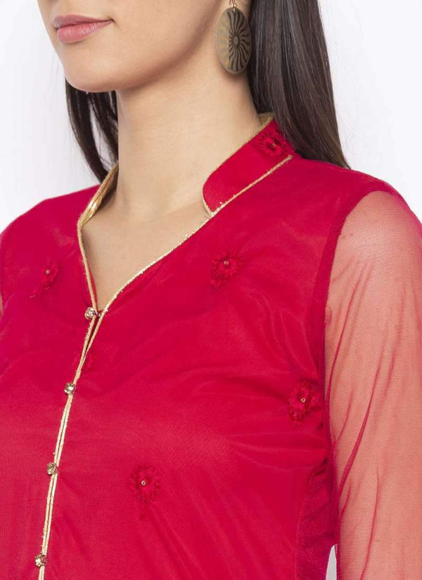 Amazing Red Color Net Fabric Kurti