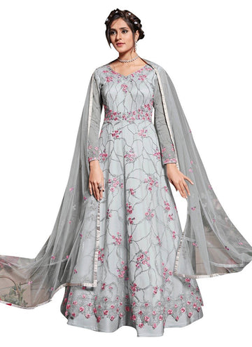 Unequalled Grey Color Net Fabric Wedding Suit