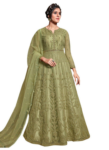 Unequalled Green Color Net Fabric Wedding Suit