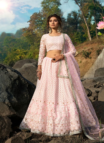 Charming Pink Color Net Fabric Party Wear Lehenga