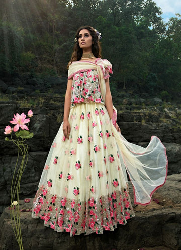 Charming Cream Color Net Fabric Party Wear Lehenga