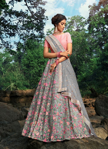 Charming Grey Color Net Fabric Party Wear Lehenga