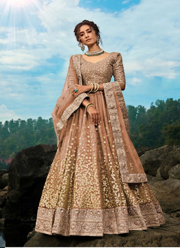 Charming Brown Color Net Fabric Party Wear Lehenga