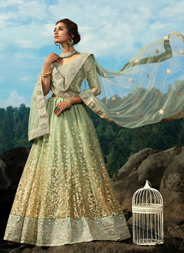 Charming Green Color Net Fabric Party Wear Lehenga