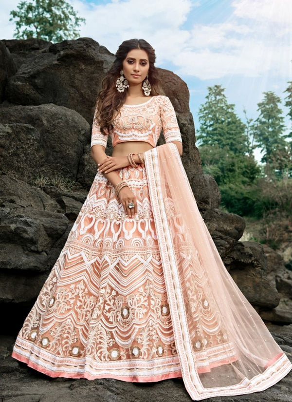 Charming Peach Color Net Fabric Party Wear Lehenga