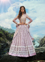 Charming Purple Color Net Fabric Party Wear Lehenga