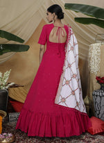 Irresistible Magenta Color Georgette Fabric Gown