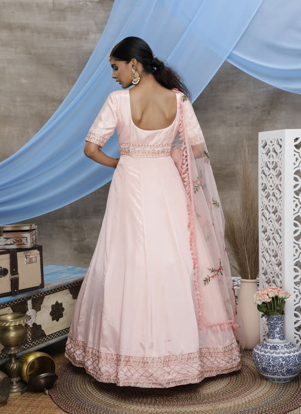 Irresistible Pink Color Georgette Fabric Gown
