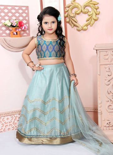 Pretty Blue Color Brocade Fabric Lehenga