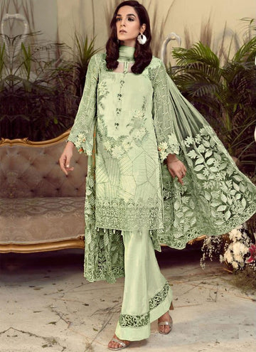 Magnetise Green Color Georgette Fabric Designer Suit