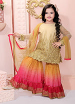 Pretty Beige Color Net Fabric Sharara