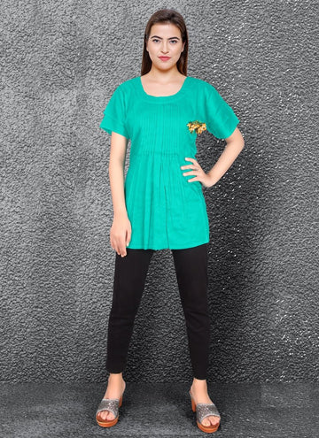 Zingy Turquoise Color Rayon Fabric Kurti