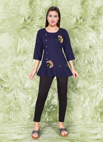 Zingy Navy Blue Color Rayon Fabric Kurti