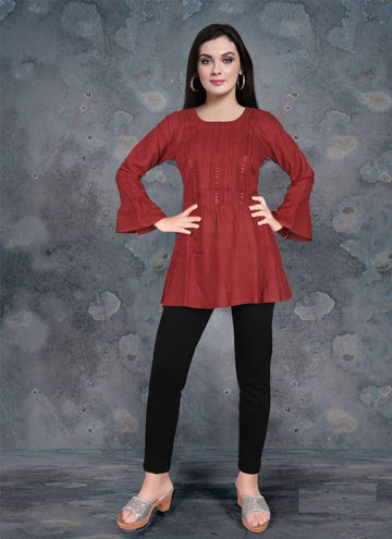 Zingy Maroon Color Rayon Fabric Kurti