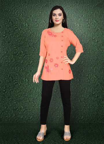 Zingy Orange Color Rayon Fabric Kurti