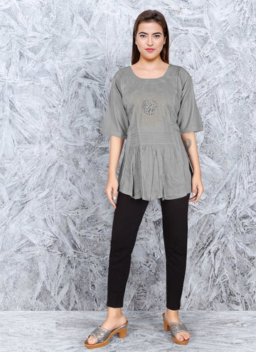 Zingy Grey Color Rayon Fabric Kurti