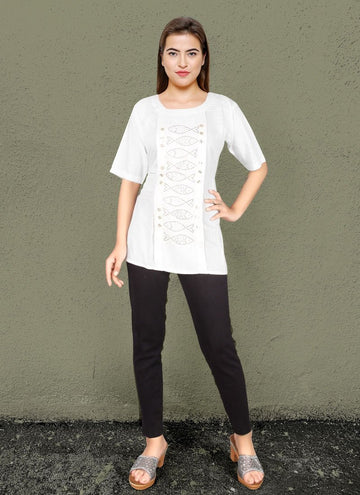 Zingy White Color Rayon Fabric Kurti