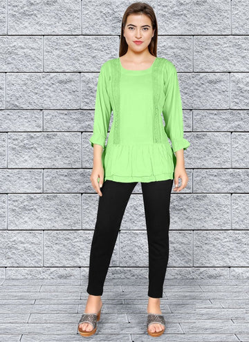 Zingy Green Color Rayon Fabric Kurti