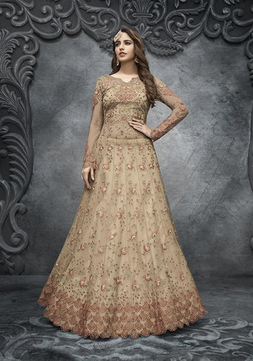 Stunning Beige Color Net Fabric Wedding Suit