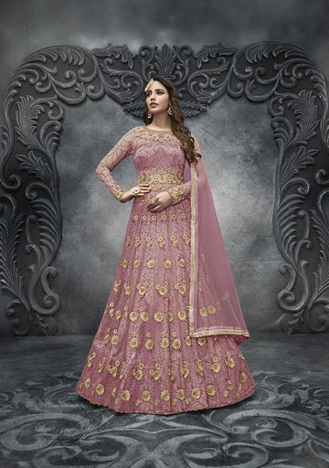 Stunning Peach Color Net Fabric Wedding Suit