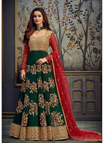Zingy Green Color Georgette Fabric Wedding Suit