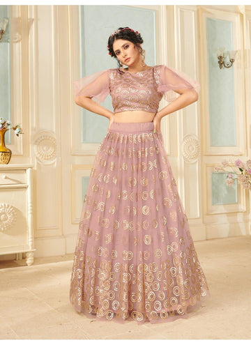 Bewitching Pink Color Net Fabric Party Wear Lehenga