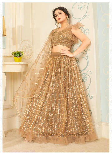 Bewitching Beige Color Net Fabric Party Wear Lehenga