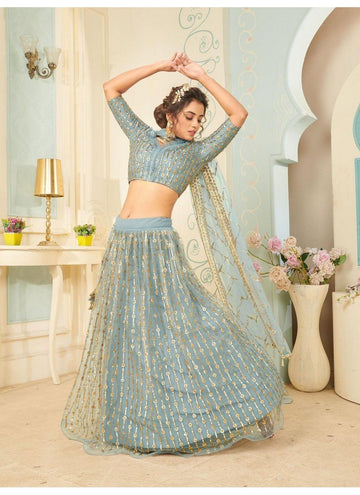 Bewitching Aqua Color Net Fabric Party Wear Lehenga