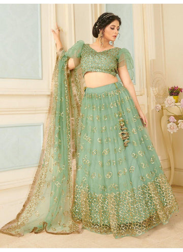 Bewitching Green Color Net Fabric Party Wear Lehenga
