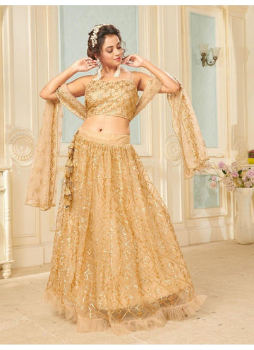Bewitching Golden Color Net Fabric Party Wear Lehenga