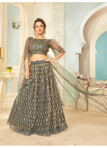 Bewitching Grey Color Net Fabric Party Wear Lehenga