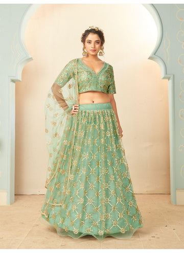 Bewitching Turquoise Color Net Fabric Party Wear Lehenga