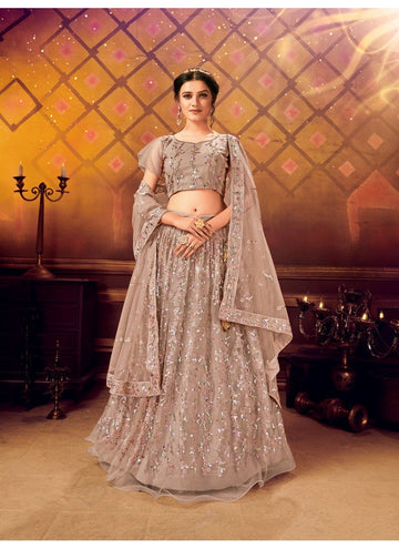 Artistical Grey Color Net Fabric Party Wear Lehenga